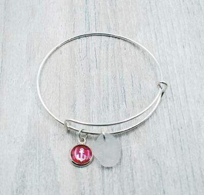 Bangle Bracelet with Handmade Resin Anchor Charm and White Maine Sea Glass
