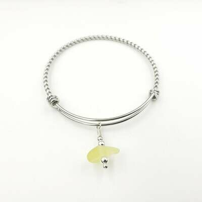 UV Reactive Lake Erie Beach Glass Bangle Bracelet