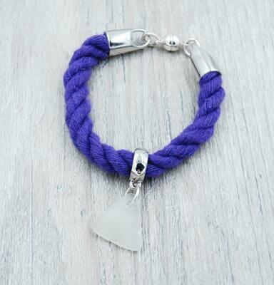 Purple Nautical Rope Bracelet with White Lake Erie Beach Glass