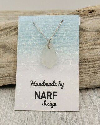 White Maine Sea Glass Necklace