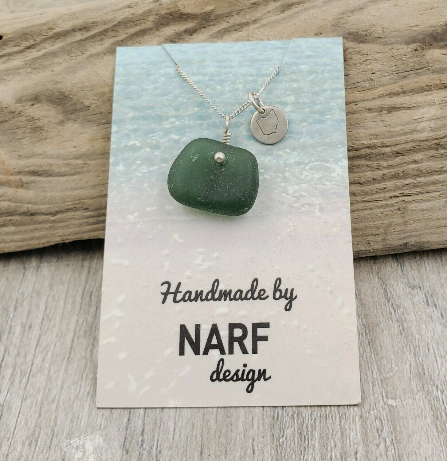 Dark Sage Green Lake Erie Beach Glass Necklace with Tiny Ohio Charm Accent