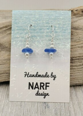 Cerulean Blue Lake Erie Beach Glass Earrings
