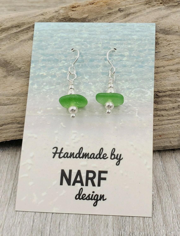 Kelly Green Lake Erie Beach Glass Earrings