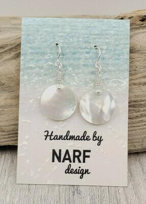 Mother of Pearl Circle Earrings