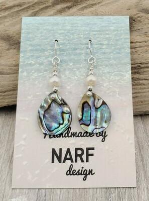 Abalone Shell Teardrop Earrings with Freshwater Pearls