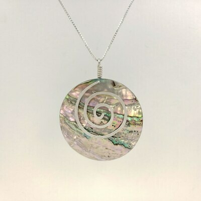 Abalone Circle Necklace with Silver Spiral
