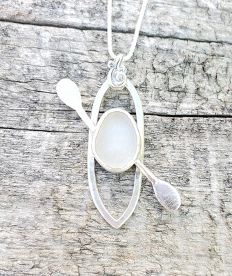 White Lake Erie Beach Glass Kayak Necklace