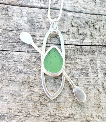 Green Lake Erie Beach Glass Kayak Necklace
