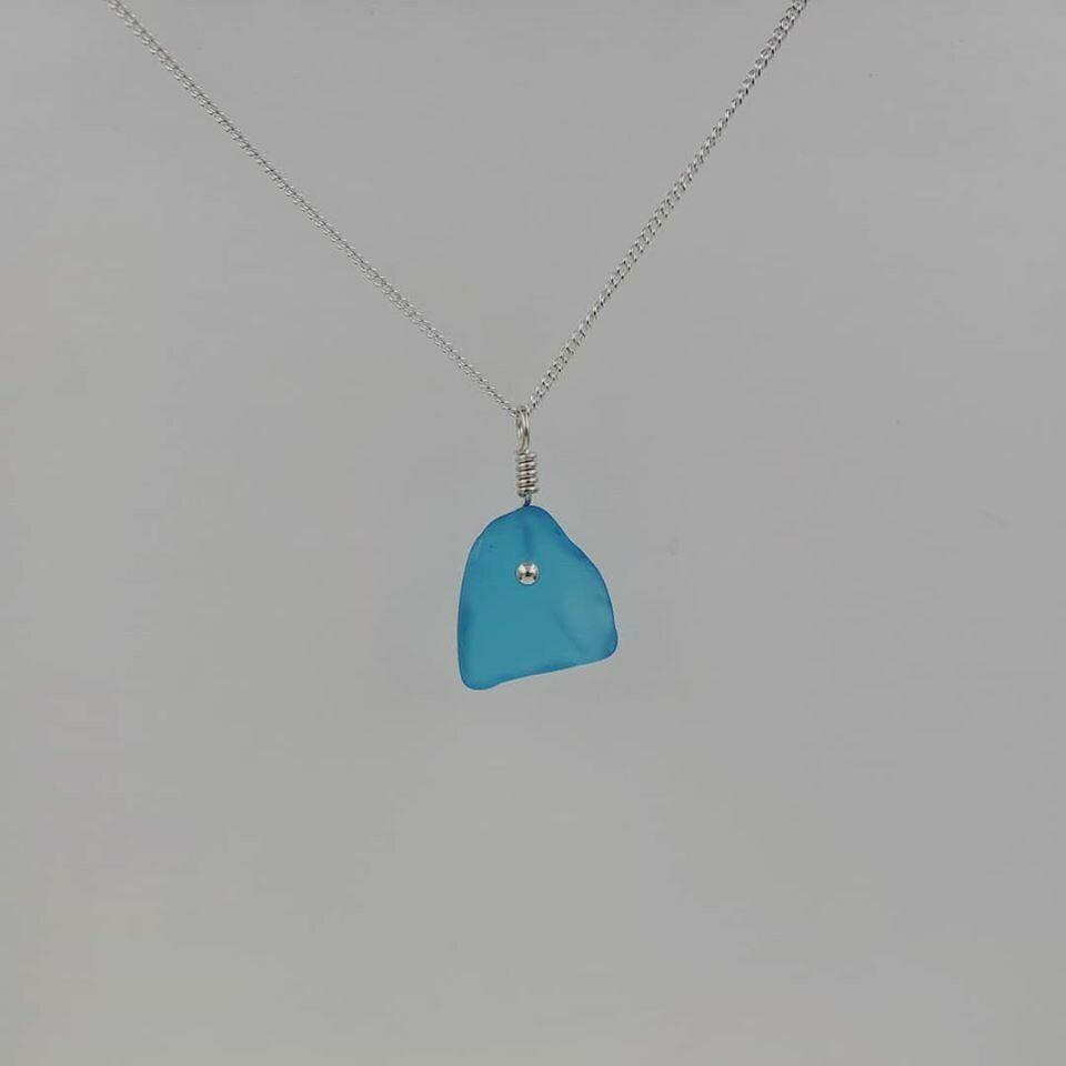 Light Blue Maine Sea Glass Necklace