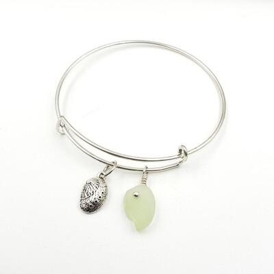 Bangle Bracelet with Abalone Shell Charm and UV Vaseline Lake Erie Beach Glass