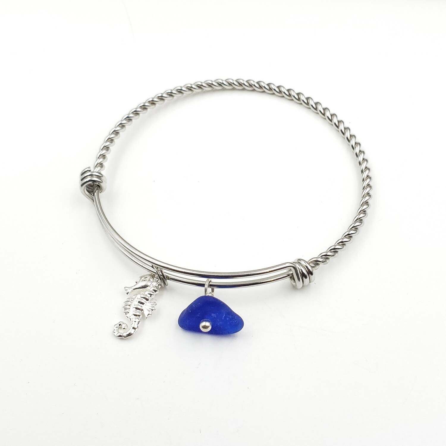 Bangle Bracelet with Seahorse Charm and Blue Lake Erie Beach Glass