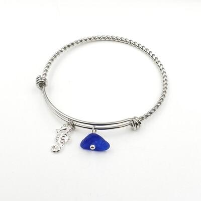 Bangle Bracelet with Seahorse Charm and Blue Lake Erie Beach Glass