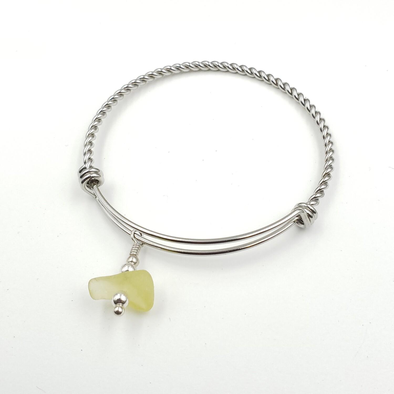 UV Reactive Lake Erie Beach Glass Bangle Bracelet