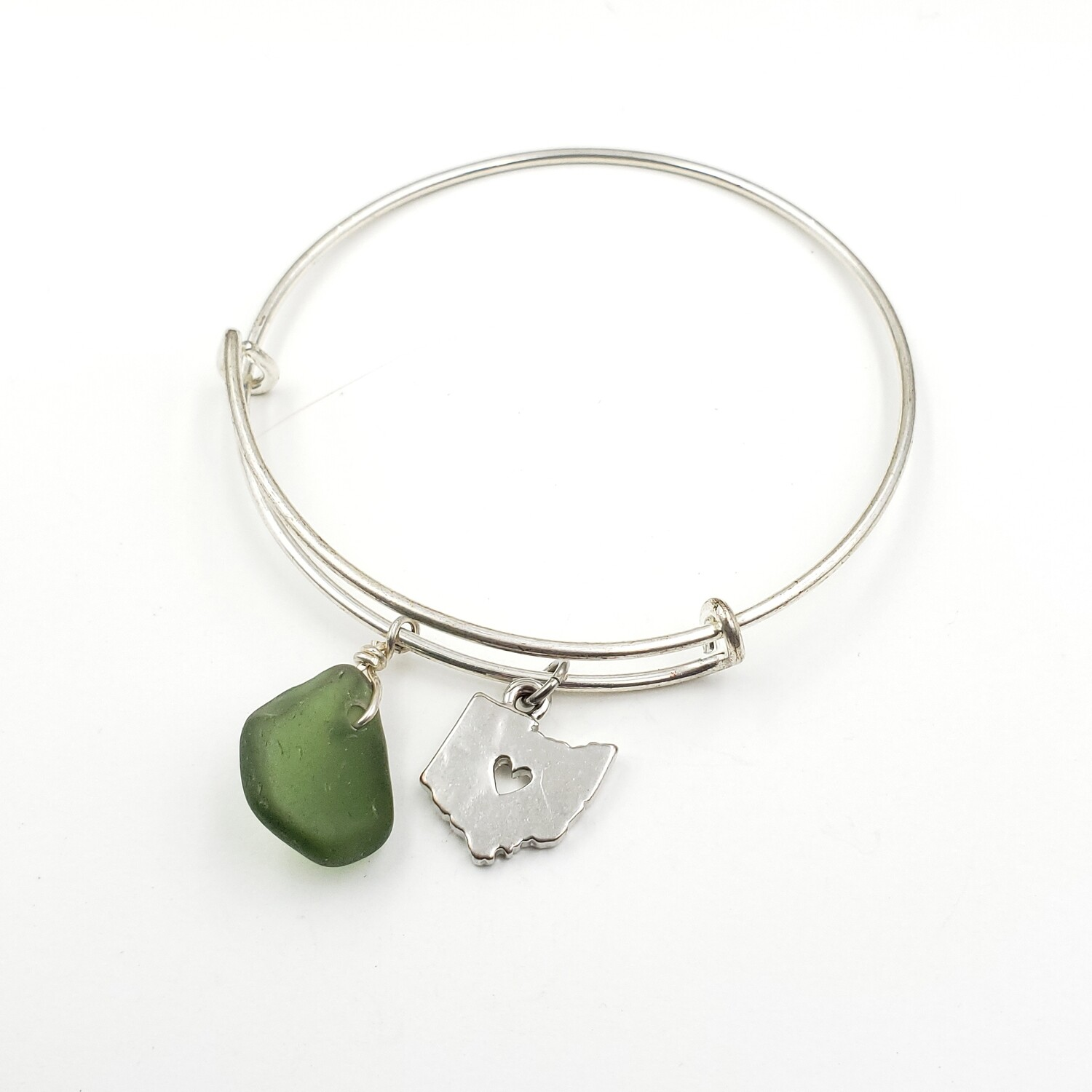 Bangle Bracelet with State of Ohio Charm and Olive Green Lake Erie Beach Glass