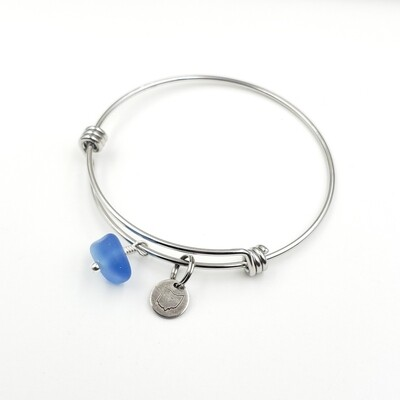 Bangle Bracelet with Stamped State of Ohio Charm and Cornflower Blue Lake Erie Beach Glass