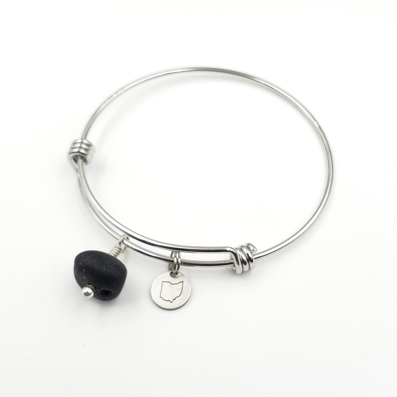 Bangle Bracelet with Stamped State of Ohio Charm and Black Vitrite Lake Erie Beach Glass