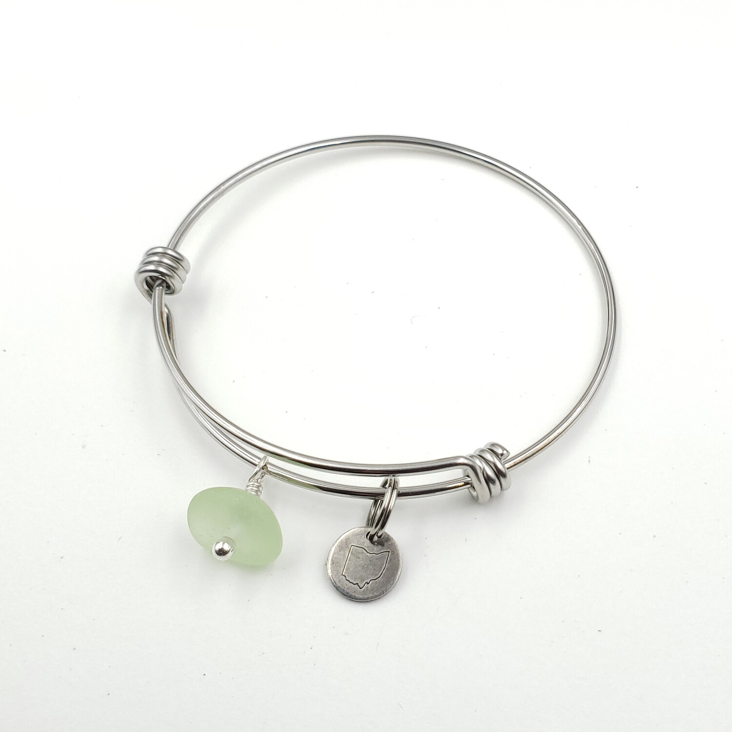 Bangle Bracelet with Stamped State of Ohio Charm and UV Vaseline Lake Erie Beach Glass