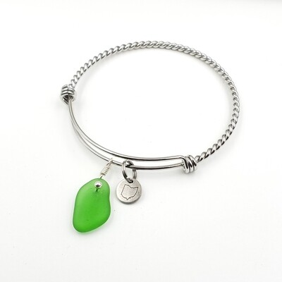 Twisted Bangle Bracelet with Stamped State of Ohio Charm and Green Lake Erie Beach Glass