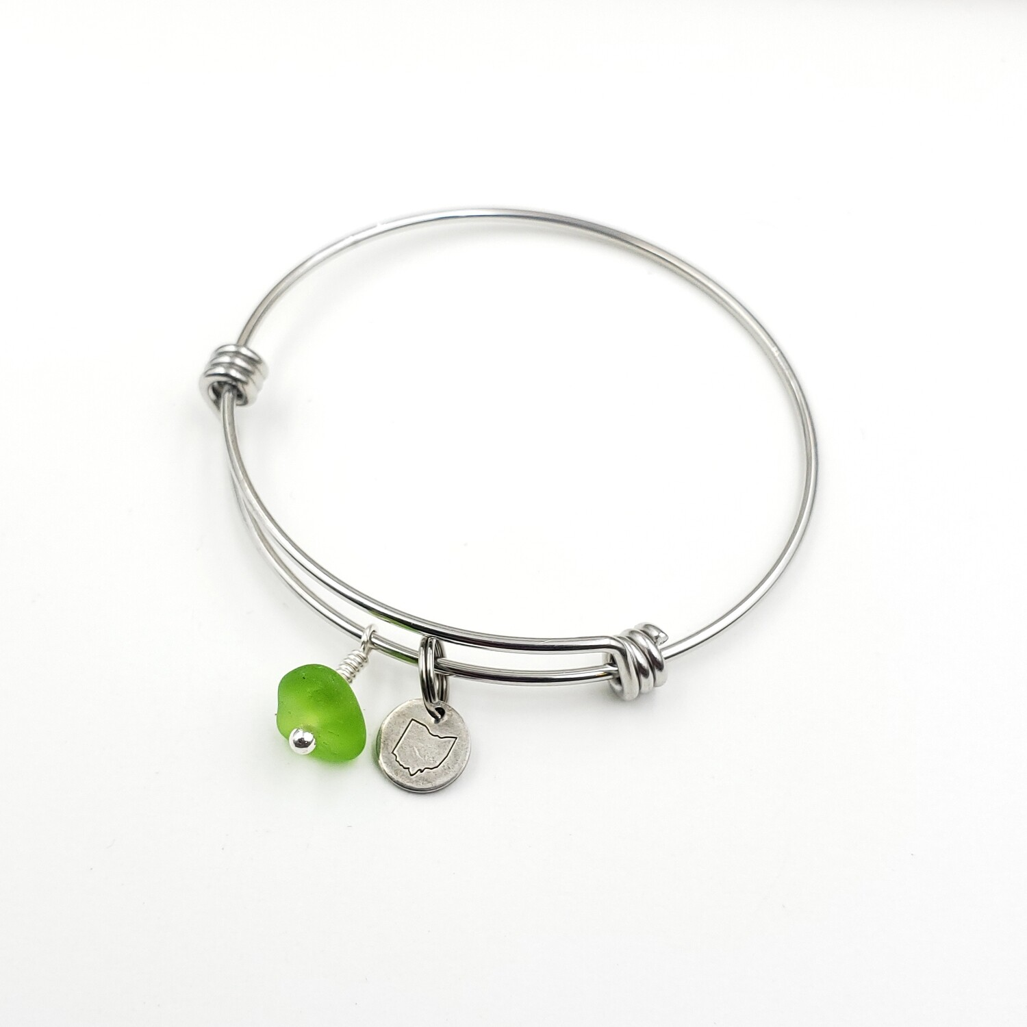Bangle Bracelet with Stamped State of Ohio Charm and Spring Green Lake Erie Beach Glass
