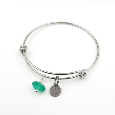 Bangle Bracelet with Stamped State of Ohio Charm and teal green Lake Erie Beach Glass