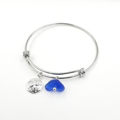 Bangle Bracelet with Sanddollar Charm and Blue Lake Erie Beach Glass