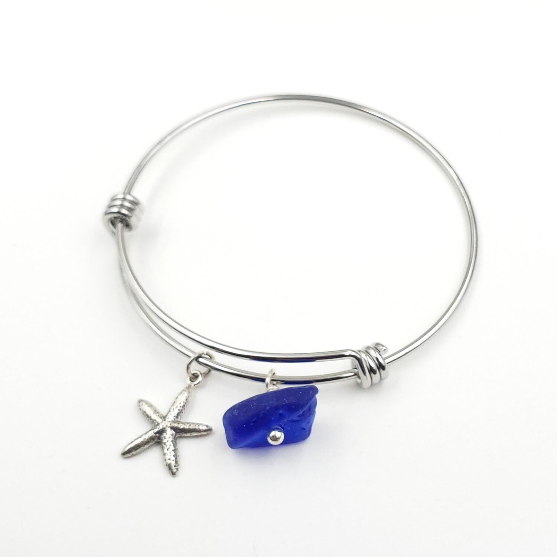 Bangle Bracelet with Starfish Charm and Blue Lake Erie Beach Glass