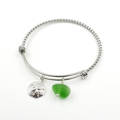 Twisted Bangle Bracelet with Sanddollar Charm and Green Lake Erie Beach Glass