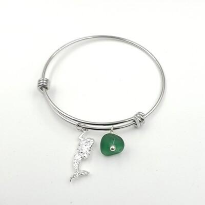 Bangle Bracelet with Mermaid Charm and Dark Green Lake Erie Beach Glass