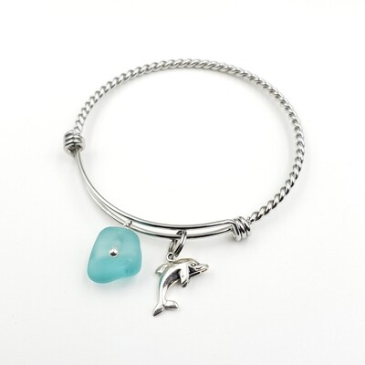 Twisted Bangle Bracelet with Dolphin Charm and Light Blue Lake Erie Beach Glass
