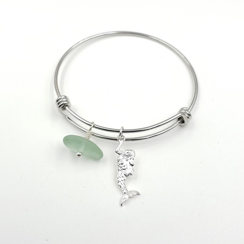 Bangle Bracelet with Mermaid Charm and Seafoam Green Lake Erie Beach Glass