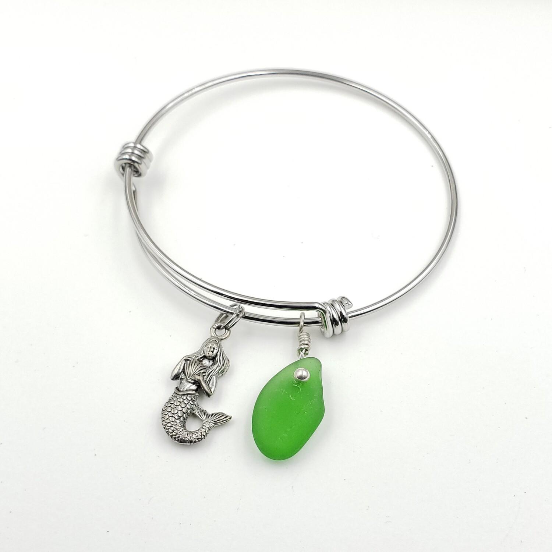 Bangle Bracelet with Mermaid Charm and Green Lake Erie Beach Glass