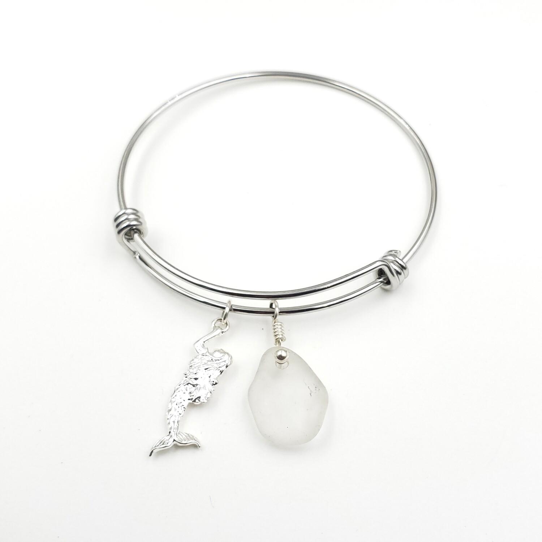 Bangle Bracelet with Mermaid Charm and White Lake Erie Beach Glass