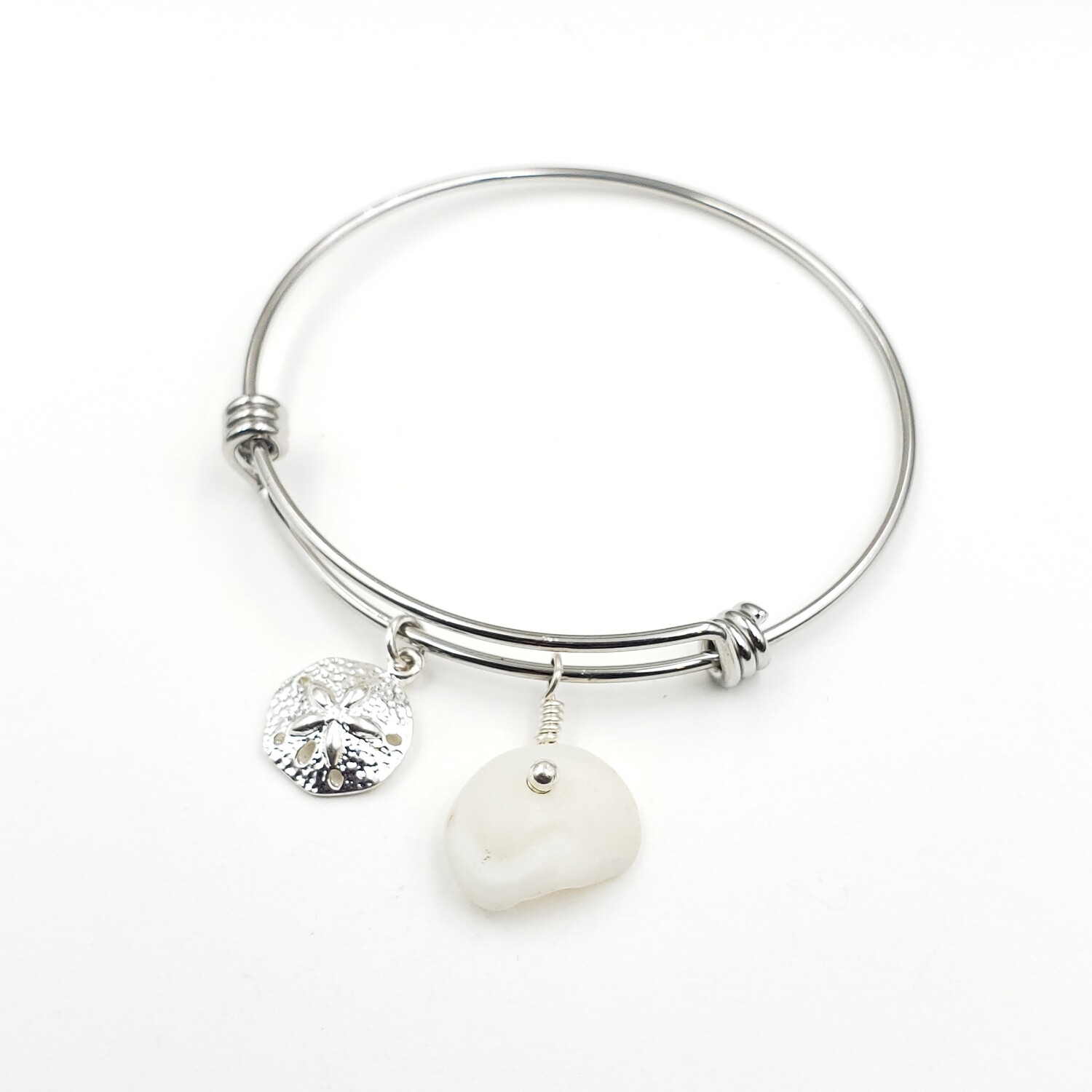 Bangle Bracelet with Sanddollar Charm and Lake Erie Lucky Stone