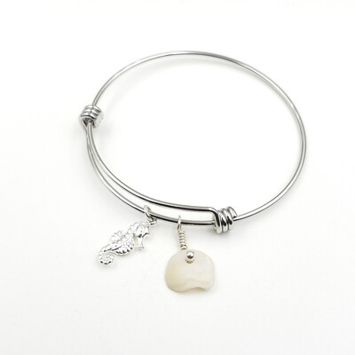 Bangle Bracelet with Seahorse Charm and Lake Erie Lucky Stone