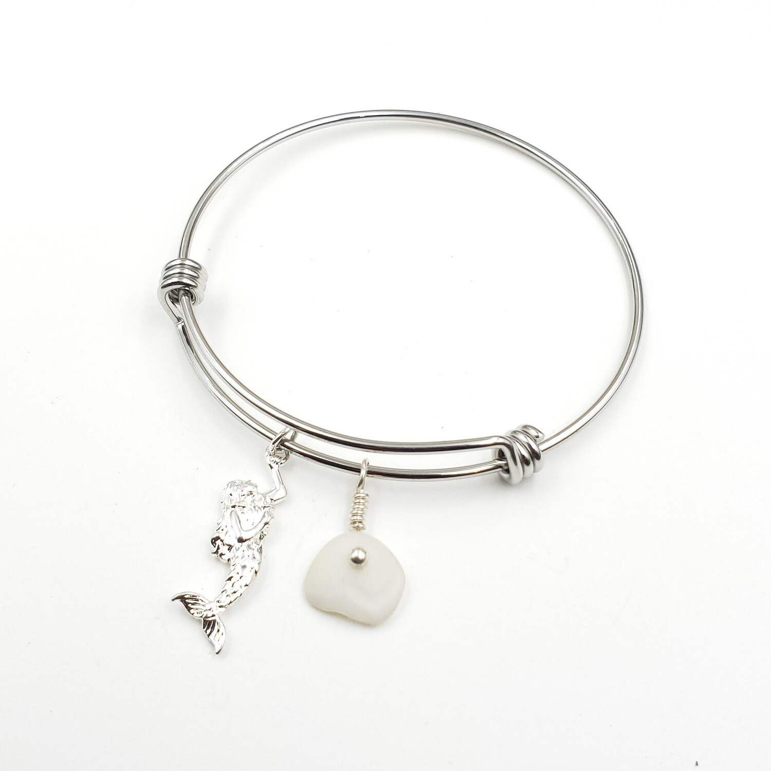 Bangle Bracelet with Mermaid Charm and Lake Erie Lucky Stone