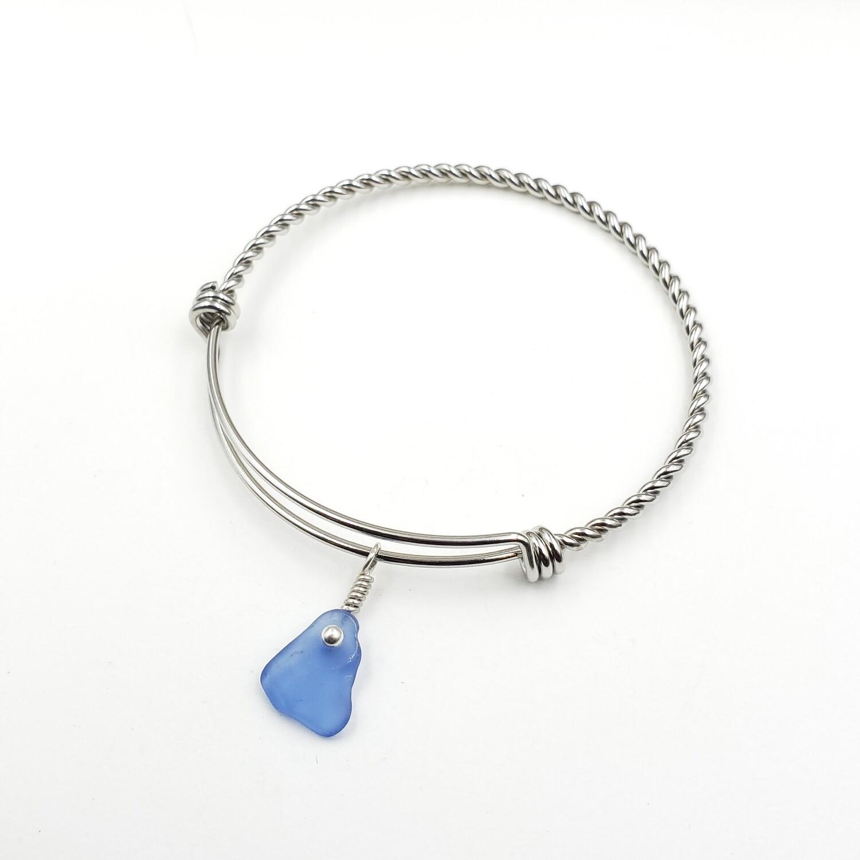 Twisted Bangle Bracelet with Cornflower Blue Maine Sea Glass