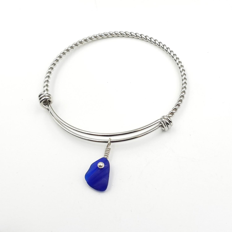 Twisted Bangle Bracelet with Cobalt Blue Maine Sea Glass