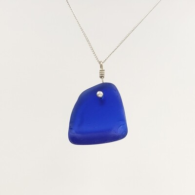 Cobalt Blue Maine Sea Glass Bottle Edge Necklace