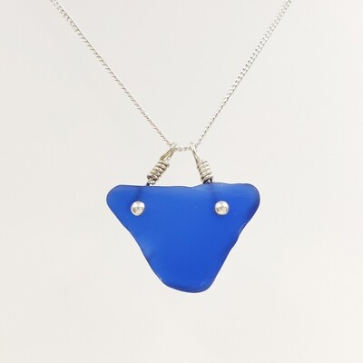 Cobalt Blue Maine Sea Glass Triangle Bar Necklace