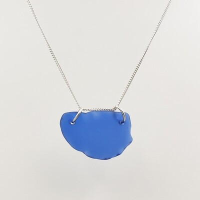 Cobalt Blue Maine Sea Glass Bar Necklace