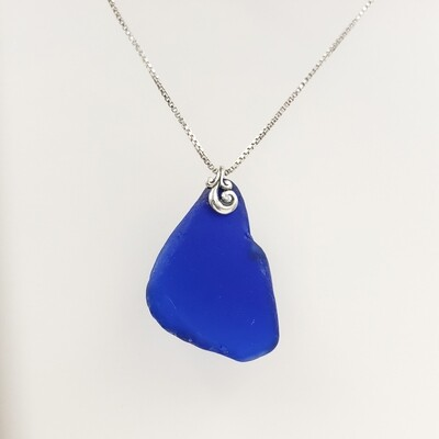 Cobalt Blue Maine Sea Glass Necklace With Wave Bail