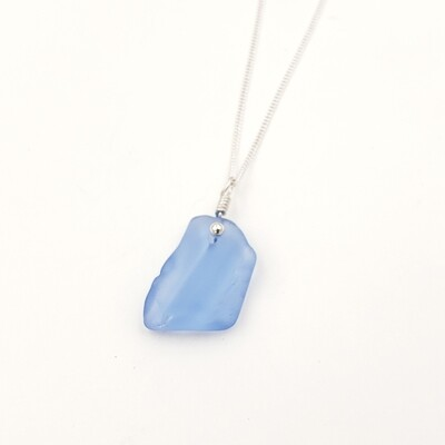 Light Cornflower Blue Maine Sea Glass Necklace