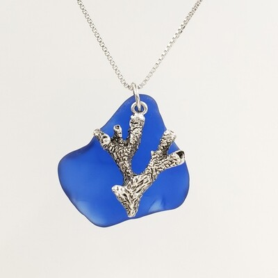 Cobalt Blue Maine Sea Glass and Coral Charm Necklace