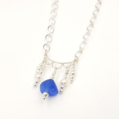 Blue Lake Erie Beach Glass Chandelier Necklace