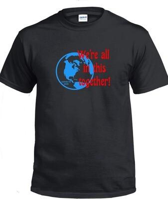 Together T-Shirt (Blue & Red on Black)