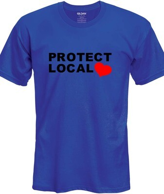 Protect Local T-Shirt (Black & Red on Blue)