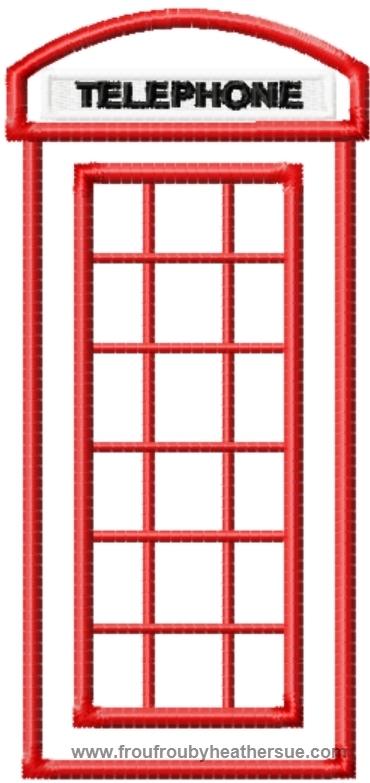 London phone booth machine applique embroidery designs