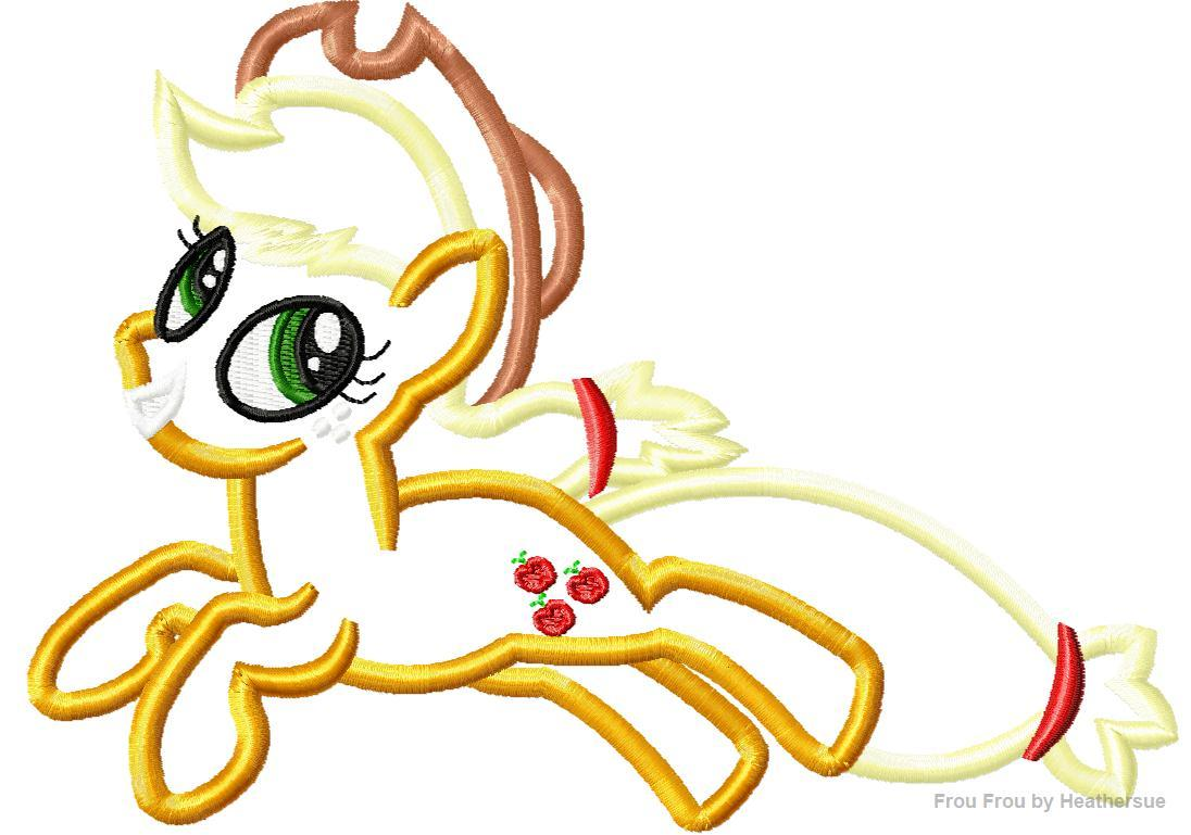 Apple little horse machine applique embroidery design