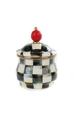 CC enamel lidded sugar bowl