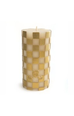 Check pillar candle 6 inches gold
